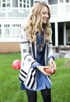Love the denim dress w/ the print cardi! Perfect for fall