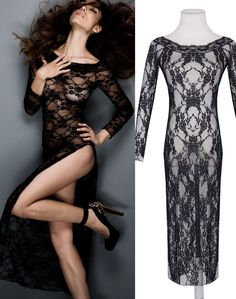 Women's Sexy Lingerie Long Babydoll Classic Long Sleeves Lace Gown Exotic Apparel Women Underwear Sleepwear Hot Nightwear Sexy Gifts Valentine's Day Wife Honeymoon