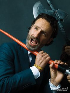 andrew lincoln. and a lightsaber. drop your stuff and thaaangs and squee.