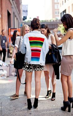 denim jacket with bright colors