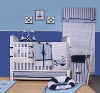 Little Sailor crib bedding-Bacati - nautical baby nursery decorating