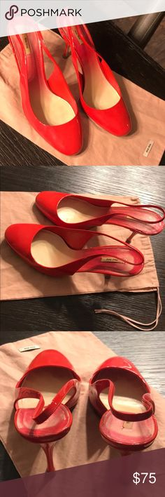 """Auth Miu Miu cherry red patent leather heels 7 Authentic Miu Miu cherry red patent leather heels 7 Euro 38 heels measure 3.5"""" tall very good condition few light marks on heels and slight wear on bottom soles slight fading on insoles includes dust bag Miu Miu Shoes Heels"""