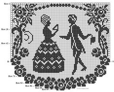 Crochet fillet or cross stitch French couple