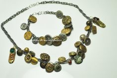 Upcycled vintage button necklace and bracelet by Rocks2Gems2Wire, $40.00
