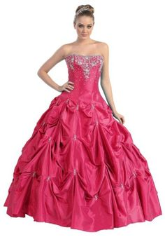 Ball Gown Strapless Formal Prom Wedding Dress #2714: Clothing $259.99 southern belle costume in hot pink