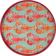 """Lobster Serving Tray - The cheery red pattern on our 18"""" round Lobster Serving Tray brings summer smiles all year long."""