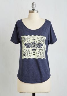 Pollen Favor, Say Aye Tee. All it takes to make a case for upbeat attitudes is sporting this navy blue tee! #black #modcloth