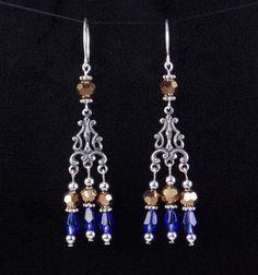 Chandelier earrings long purple yellow glass bead silver blue and gold glass bead small chandelier earrings by shawnawerks aloadofball Gallery