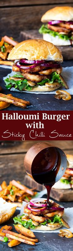 Ultimate Vegetarian Burger. This is my Halloumi burger with sticky chilli drizzle. A speedy and delicious dinner! #Vegetarian #Burger #Recipe via @kitchensanc2ary