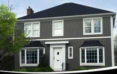 Kaycan Vinyl Siding (Castlemore Board & Batten with White Trims) [Grey, Gray, Dark, Rustic Urban, Bold, Definition, House, Home Improvement, Exterior, Styles, Finish, low-maintenance, Curb Appeal, Renovation, Modern, Beautiful, Home Design, Colours, Colors, Gables, Shakes, Stone, Traditional, Cladding, Covering] #everythingexteriorstore