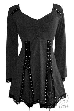 A new wear-anywhere colorway is in! Dare To Wear Gothic Victorian Women's Electra Corset Top in Charcoal