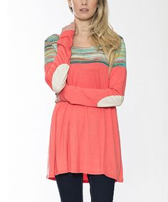 Look at this Coral & Aqua Elbow Patch Tunic on #zulily today!