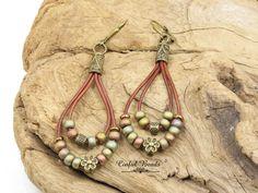 Seed Bead Dangle Leather Earrings, Boho Leather Teardrop Earrings In Matte Metallic Khaki Iris, Antique Bronze Beaded Leather Earrings