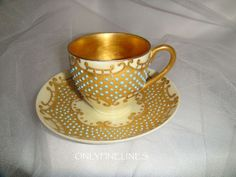 blue cup, gold interior | Exquisite - D - Limoges - France - Coffee - Tea - Chocolate - Coco ...