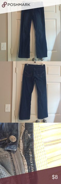 Lee Naturally Slimming Bootcut Jeans These jeans are from the Platinum Label line. They are in VGUC. They have faded some and show some signs of wear around the pockets, but they still have lots of wear left in them.  I listed them as a 6P, but they are actually 6S. Lee Jeans Boot Cut