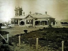 """Glenara"" on the South Esplanade in Glenelg, South Australia in Built in 1873 for William Hill. Hill was a S. businessman and investor. Australia House, South Australia, William Hill, Victorian Photos, Historical Architecture, Palaces, Old Photos, Castles, Empire"