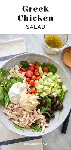 These Greek Chicken Salad bowls are colorful, healthy, loaded with delicious, fresh ingredients, and perfect for lunch or a light dinner! Salad Dishes, Salad Bowls, Soup And Salad, Paleo Salad Recipes, Lunch Recipes, Healthy Recipes, Gluten Free Recipes For Dinner, Paleo Dinner, Paleo Salad Dressing