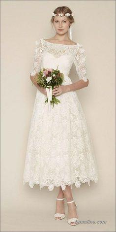 111 elegant tea length wedding dresses vintage (86)