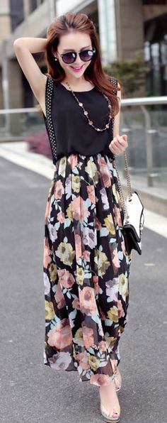 Maxi chiffon summer flower printed dress YRB0688 #blackchiffon #summerclothes