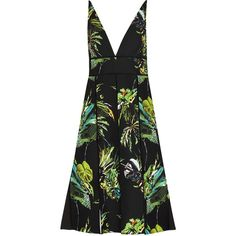 Womens Knee-Length Dresses Proenza Schouler Tropical-print... (4,065 CAD) ❤ liked on Polyvore featuring dresses, knee-length dresses, tropical print dresses, multi-color dress, multi colored dress and crepe dress
