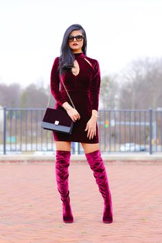 www.streetstylecity.blogspot.com Fashion inspired by the people in the street ootd look outfit sexy heels legs woman girl velvet otk boots knee over minidress high high-neck-velvet-bodycon-dress-3.jpg (1200×1800)