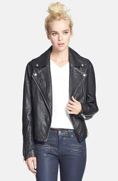 Topshop 'Birthday' Leather Biker Jacket