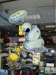 Christmas humour window painting