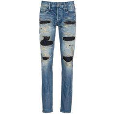 Denham 'Razor Zmijas' ripped slim fit jeans ($449) ❤ liked on Polyvore featuring men's fashion, men's clothing, men's jeans, blue, mens torn jeans, mens slim fit ripped jeans, mens blue ripped jeans, mens distressed jeans and mens ripped jeans