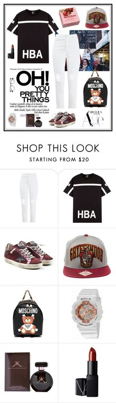 """Untitled #367"" by chau-bao-ngan ❤ liked on Polyvore featuring Topshop, Hood by Air, Golden Goose, Moschino, Casio, NARS Cosmetics and Ray-Ban"