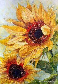 """""""Sunbather"""" by Missy Cowan Sunflower Art, Watercolor Sunflower, Watercolor Flowers, Painting Flowers, Painting & Drawing, Watercolor Paintings, Moon Painting, Watercolor Artists, Watercolours"""