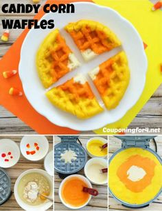 Candy Corn Waffles - Your family is going to go crazy over this easy recipe that you can make for breakfast, lunch or dinner!