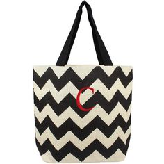 Cathy's Concepts Personalized Chevron Print Jute Tote (115 BRL) ❤ liked on Polyvore featuring bags, handbags, tote bags, chevron print tote bag, zip top tote bag, chevron print purse, black tote and monogram tote