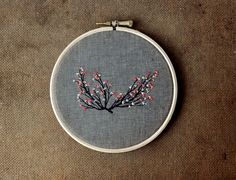 Branch 7  mixed media embroidery hanging wall by fricdementol