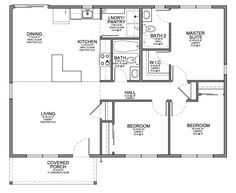 Floor Plan for Affordable 1,100 sf House with 3 Bedrooms and 2 Bathrooms. Efficient layout, concentrating the plumbing in the center of the house.