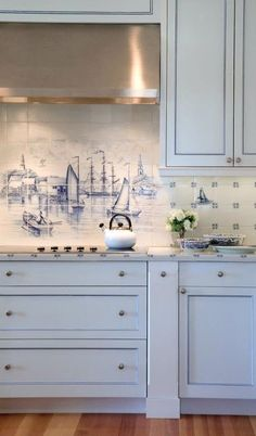 Nautical Kitchen Backsplash - Coastal Kitchen Backsplash Ideas with Tiles. Coastal Cottage, Coastal Style, Coastal Living, Coastal Decor, Coastal Bedrooms, Nantucket Style, White Cottage, Cottage House, Coastal Homes
