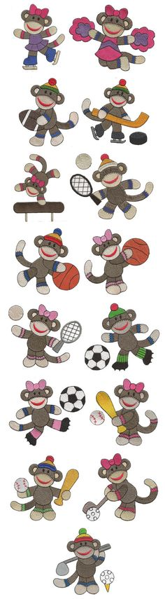 Embroidery | Free Machine Embroidery Designs | Sock Monkey Sports Filled