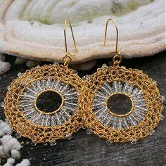 crochet gold colored wire earrings