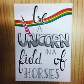 Ein Monoceros sein gen einem Feld voller Pferde - Rebel Without Applause Calligraphy Quotes Doodles, Doodle Quotes, Hand Lettering Quotes, Creative Lettering, Doodle Art, Art Quotes, Typography, Calligraphy Art, Bullet Journal Quotes