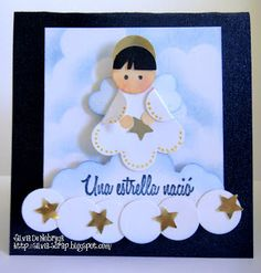 Silvia Scrap: Mini tutorial Angelito with Punch Art Paper Punch Art, Punch Art Cards, Christmas Punch, Christmas Crafts, Baby Boy Cards, Scrapbook Paper Crafts, Scrapbooking, Winter Cards, Crafts To Do