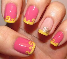 Sleeping Beauty Aurora-inspired french tip nail art tutorial