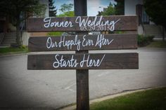 Wooden Staked Wedding Sign. Our Happily Ever by ScaleAndTailor