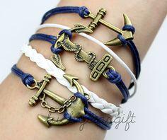Blue rope Bai Sheng white bronze anchor bracelet leather braided bracelet personality charm bracelet style bracelet-Q064 by luckystargift, $5.49