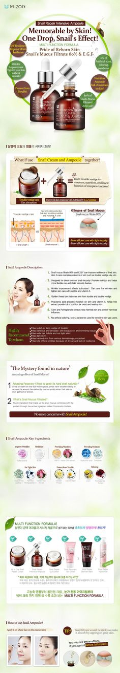 Mizon SNAIL REPAIR INTENSIVE AMPOULE 30ml # Features : Mucin content totally cares for the skin. : Soft texture for deep nutrient penetration. : Firms and gives elasticity to skin. : Protects skin from trouble and the harmful effects of the envi