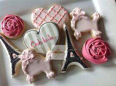 2 dozen Paris themed cookies / poodles roses by NatSweetsCookies