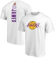474ef80aec6 Majestic Men s LeBron James Los Angeles Lakers Backer Name and Number  T-Shirt Los Angeles