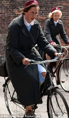 "Miranda Hart on her bike in ""Call the Midwife"""