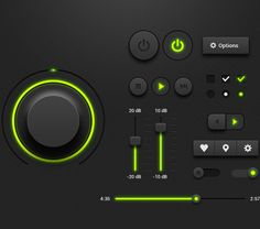 Free Dark Music Player UI Kit by Pavlo Tyshchuk, via Behance