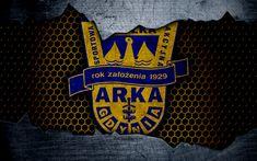 Download wallpapers Arka Gdynia, 4k, logo, Ekstraklasa, soccer, football club, grunge, art, metal texture, Arka Gdynia FC