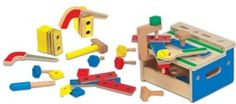 Melissa & Doug Early Childhood Development Toys Hammer & Saw Tool Bench Wooden Playset, Wooden Toys, Create An Animal, Tool Bench, Saw Tool, Wooden Buildings, Developmental Toys, Melissa & Doug, Tool Set