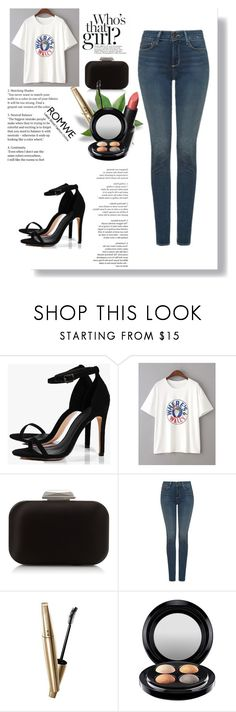 """""""white letter neck t-shirt"""" by emily-jackob ❤ liked on Polyvore featuring Boohoo, Jimmy Choo, NYDJ, VOV, Wet n Wild and MAC Cosmetics"""